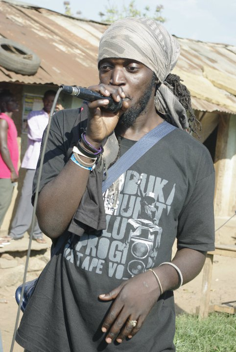 Babaluku performs a freestyle on one of his many community activism workshops