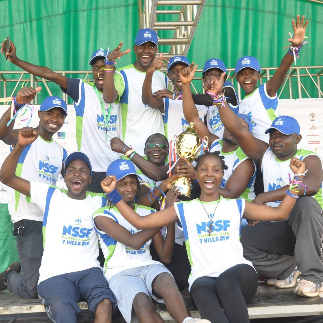 The writer third from left in the back row was part of the New Vision Kampala 2018 Seven Hills Marathon winning team