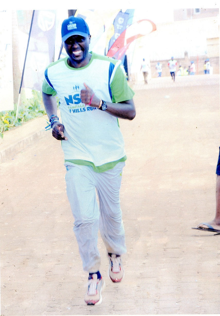 The writer hitting the final stretch at the 2018 Kampala Seven Hills Marathon in Nsambya
