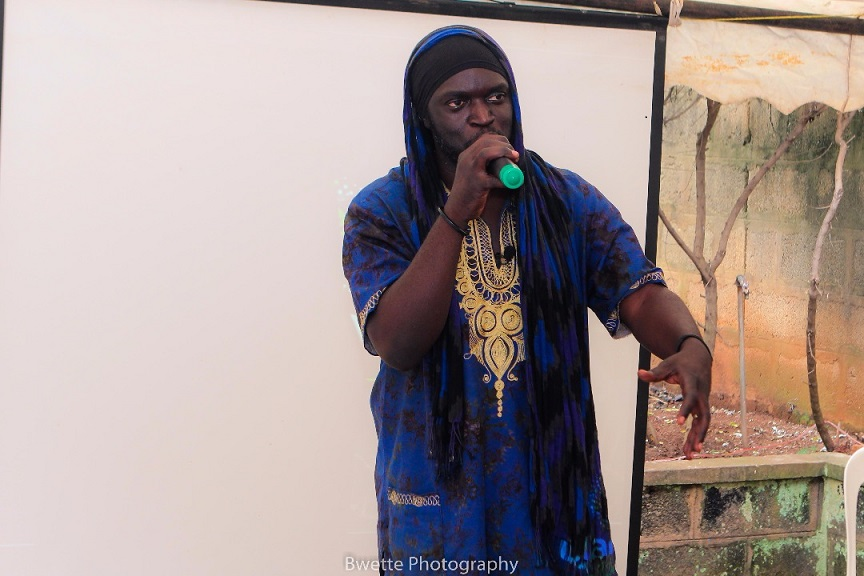 Babaluku speaks to youth at the Kafeero Foundation in Makindye about the virtues of conscious Hip Hop culture