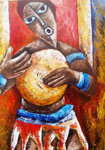 A painting of an African drummer by Vero Muwonge